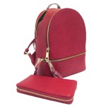 LP1062-CRANBERRY PU LEATHER MEDIUM BACKPACK WITH MATCHING WALLET