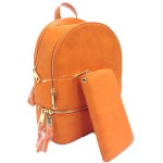 LP1062-MUSTARD PU LEATHER MEDIUM BACKPACK WITH MATCHING WALLET