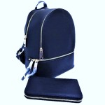 LP1062-NAVY PU LEATHER MEDIUM BACKPACK WITH MATCHING WALLET