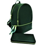 LP1062-OLIVE PU LEATHER MEDIUM BACKPACK WITH MATCHING WALLET