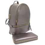 LP1062-PEWTER PU LEATHER MEDIUM BACKPACK WITH MATCHING WALLET