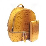 OS1062W-MUSTARD VEGAN OSTRICH MEDIUM BACKPACK WITH MATCHING WALLET