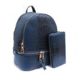 OS1062W-NAVY VEGAN OSTRICH MEDIUM BACKPACK WITH MATCHING WALLET