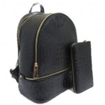 OS1062W-BLACK VEGAN OSTRICH MEDIUM BACKPACK WITH MATCHING WALLET
