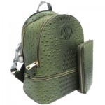OS1062W-OLIVE VEGAN OSTRICH MEDIUM BACKPACK WITH MATCHING WALLET