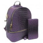 OS1062W-PURPLE VEGAN OSTRICH MEDIUM BACKPACK WITH MATCHING WALLET