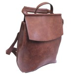 UN00692-COFFEE PU LEATHER MEDIUM BACKPACK
