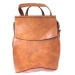 UN00692-COGNAC PU LEATHER MEDIUM BACKPACK