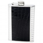 STAINLESS STEEL FLASK WITH FAUX LEATHER INLAYS - 8 Oz.