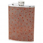 STAINLESS STEEL FLASK /W FAUX OSTRICH LEATHER WRAP - 8 Oz.