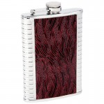 STAINLESS STEEL FLASK /W EMBOSSED LINEAR DESIGN - 8 Oz.
