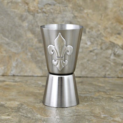 180121-FDL-FLEUR DE LIS STAINLESS STEEL DUAL MEASURE SPIRIT MEASURING CUP