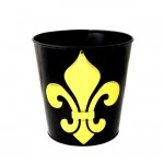 1192L-FDL - BLACK COLOR BUCKET W/LARGE GOLD FLEUR DE LIS