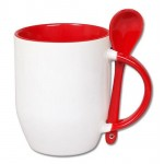 500605- WHITE/RED SUBLIMATION BLANK CERAMIC COFFEE MUG WITH SPOON