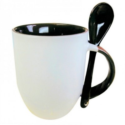 500605- WHITE/BLACK SUBLIMATION BLANK CERAMIC COFFEE MUG WITH SPOON