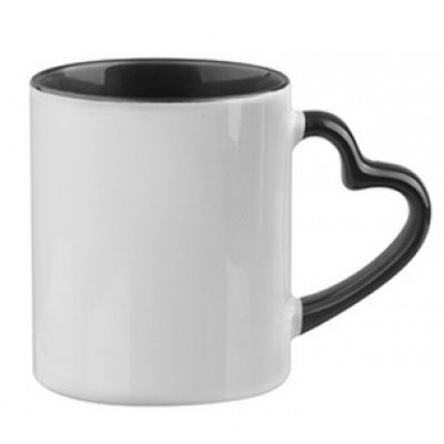 500604- WHITE/BLACK SUBLIMATION BLANK CERAMIC COFFEE MUG WITH HEART HANBNDLE