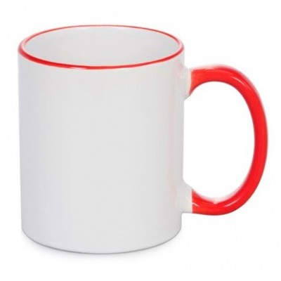 500603- RED/WHITE SUBLIMATION BLANK  CERAMIC COFFEE MUG