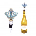 1005-TQ - TURQUOISE STONE WINE STOPPER / W CROWN DESIGN