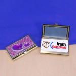 ST32104-PUR-HRT CRYSTAL PURPLE HEART / BUSINESS CARD HOLDER