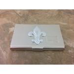 180664-FDL-FLEUR DE LIS BUSINESS CARD HOLDER SILVER W/LINES
