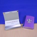 ZG6001CRY- PURPLE FDL BUSINESS CARD HOLDER / CLEAR CRYSTAL