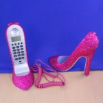 ST32101HPNK - SHOE PHONE SET / W PINK CRYSTAL