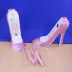 ST32101LPNK - SHOE PHONE SET / W PINK CRYSTAL