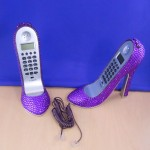 ST32101PUR - SHOE PHONE SET / W PURPLE CRYSTAL