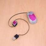 ST32116-ADJUSTABLE  MOUSE / HOT PINK & CLEAR CRYSTAL