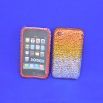 ST32122 - IPHONE COVER / AMBER & CLEAR CRYSTAL