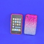 ST32122 - IPHONE COVER / HOT PINK  & CLEAR CRYSTAL