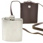 181080- STAINLESS STEEL HIP FLASK 9 OZ./ W BROWN LEATHER COVER