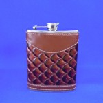 YX2007-BROWN LEATHER FLASK 8 OZ.