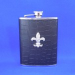 ZG6017-BLACK LEATHER CRYSTAL FDL FLASK 8 OZ .