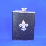 ZG6017-BLACK LEATHER SILVER FDL FLASK 8 OZ .