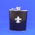 ZG6019-SHINY BLACK LEATHER CRYSTAL FDL FLASK 8 OZ
