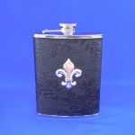 ZG6020-BLACK LEATHER FDL FLASK 8 OZ.