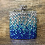 ST32120BLUE-CRYSTAL FLASK BLUE / CLEAR - 3 OZ.