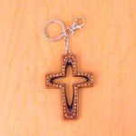 7010-AMBER CRYSTAL CROSS / COPPER KEY CHAIN HOLDER