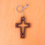 7010-BLACK CRYSTAL CROSS / COPPER KEY CHAIN HOLDER