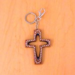 7010-CLEAR CRYSTAL CROSS / COPPER KEY CHAIN HOLDER