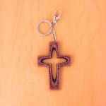 7010-PURPLE CRYSTAL CROSS / COPPER KEY CHAIN HOLDER