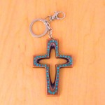 7010-TURQUOISE CRYSTAL CROSS / SILVER KEY CHAIN HOLDER