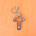7010-BLACK CRYSTAL CROSS / SILVER KEY CHAIN HOLDER