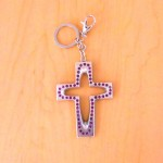 7010-PURPLE CRYSTAL CROSS / SILVER KEY CHAIN HOLDER