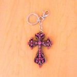 7017-PINK CRYSTAL CROSS / COPPER KEY CHAIN HOLDER