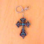 7017-TURQUOISE CRYSTAL CROSS / COPPER KEY CHAIN HOLDER
