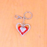CH4004-HEART SHAPE KEY CHAIN HOLDER / W CLEAR STONE