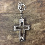 7010-AMBER CRYSTAL CROSS / SILVER KEY CHAIN HOLDER