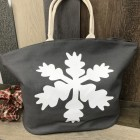 9224 - GREY AND WHITE SNOW FLAKE CANVAS TOTE